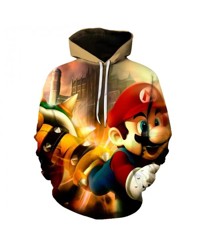 Men's Hoodies 3D cartoon Mario Game Hoodies Sweatshirt Young Loose Casual Sportswear Spring Autumn Coat Street Clothing Tops