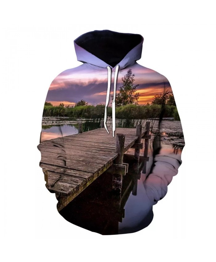 2021 Autumn and Winter New Fashion Men's Sunset Angler 3d Digital Printing Sweater Casual Sports Hooded Loose Top