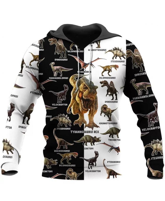 Fashion Hoodie Dinosaur 3D Printed Sweatshirt Hoodie Zipper Hoodie Unisex Casual Sports Top