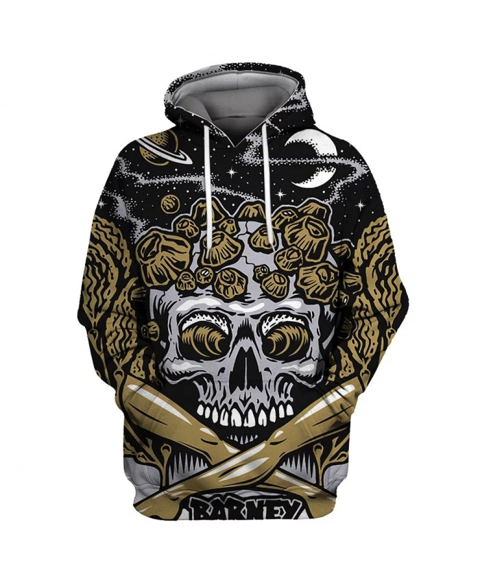 Graffiti Galaxy Roaring Grey Skull Print Fashion 3D Hooded Sweatshirt