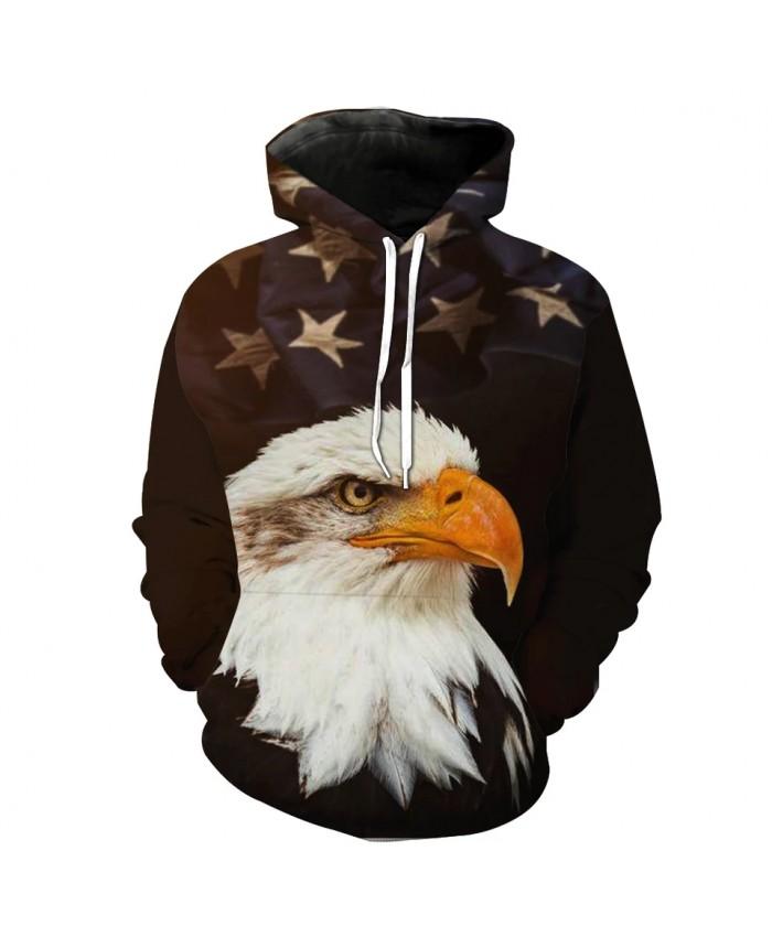Flag star eagle print fashion 3D hooded sweatshirt