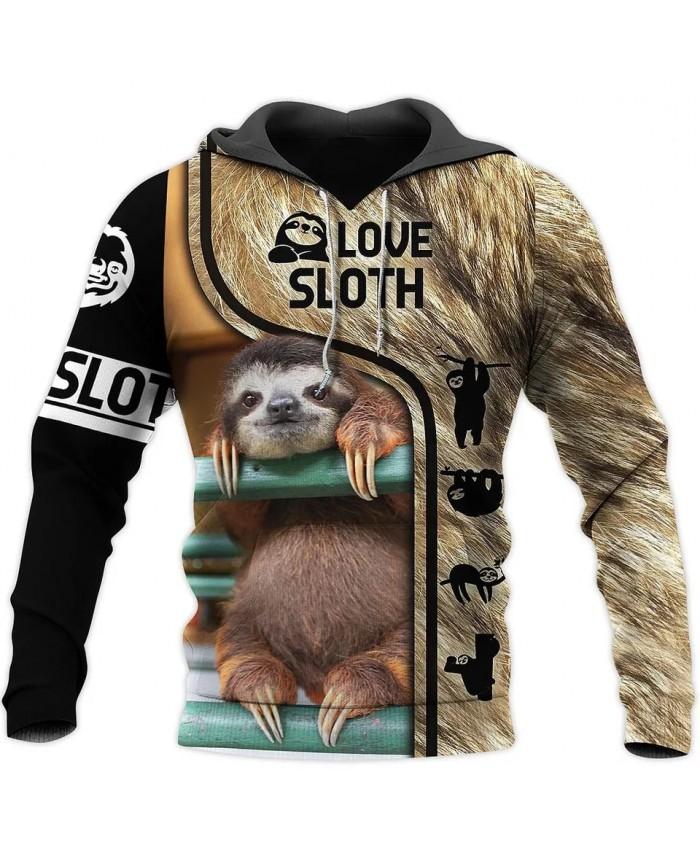 New hoodie beautiful lazy sloth 3D printed sweatshirt hoodie zipper hoodie fashion street casual unisex sweatshirt NO004