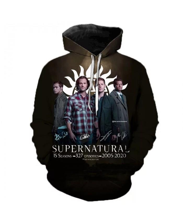 Supernatural 3D Print Hoodie Sweatshirts Men Women Fashion Casual Supernatural Pullover Hip Hop Streetwear Oversized Hoodies