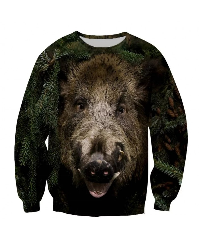 Wild boar Fashion Playerun Funny New Fashion Long Sleeves 3D Print Hoodies Sweatshirt Jacket Men women D