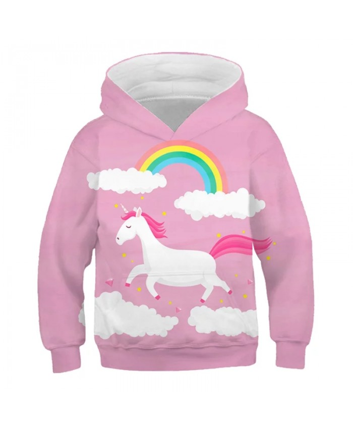 3D Unicorn Hoodies For Teen Girls Autumn Kids Baby Girls Cartoon Sweatshirt Toddler Girls Clothes Children Long Sleeve Party Top