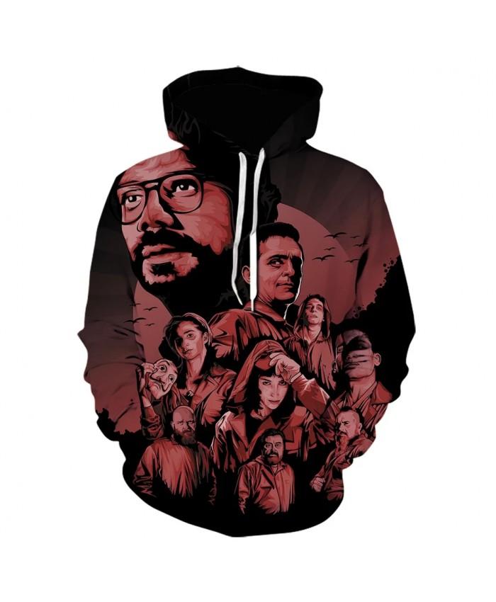 3D Print Hoodies La Casa De Papel Sweatshirt Boy Girl Winter Hoodie Men Clothing Jacket Cartoon Funny Pullover Fashion Coat