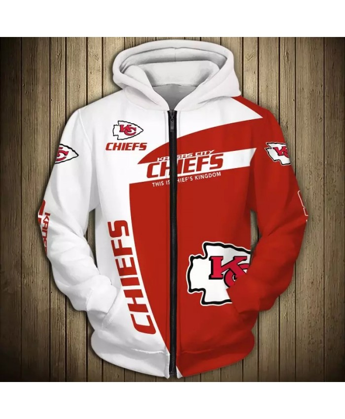 Kansas City Fashionable American Football Chiefs Zipper hoodies White and red stitching letter K printed casual sweatshirt 2