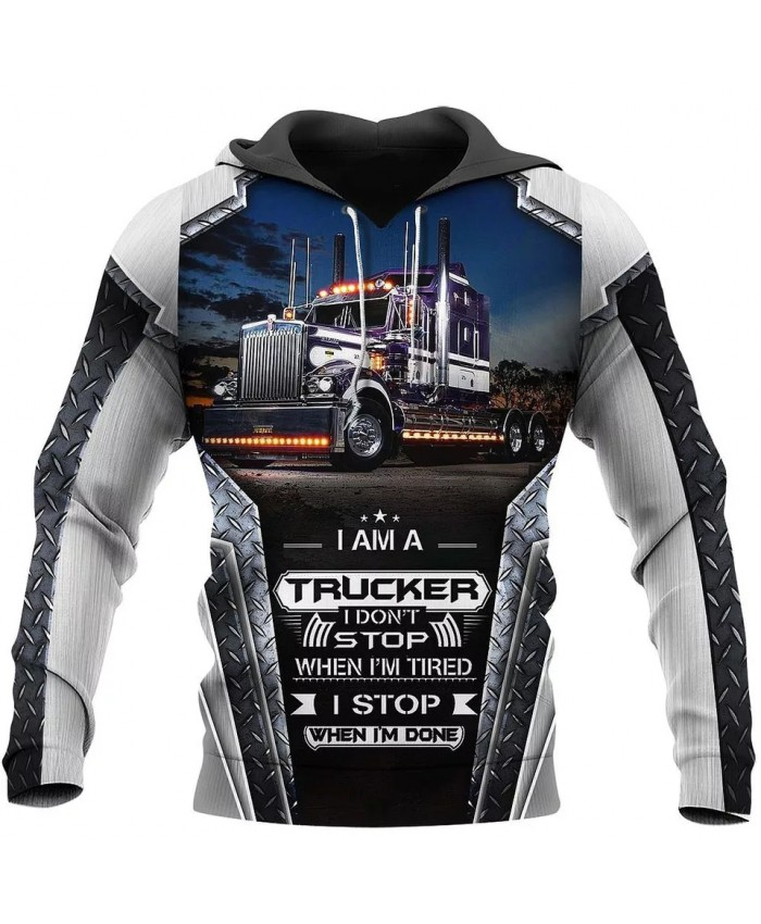 New style hoodie I am a trucker 3D printed sweatshirt hoodie zipper hoodie fun fashion street unisex casual sports hoodie NO0013