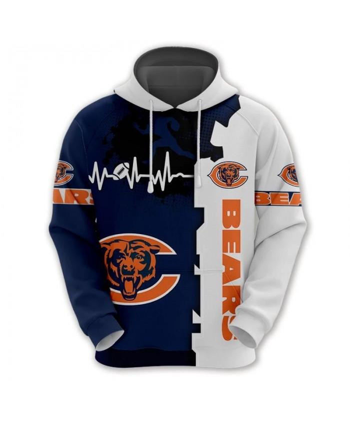Chicago fashion cool Football 3d hoodies sportswear Blue white stitching curve roaring bear print Bears sweatshirt