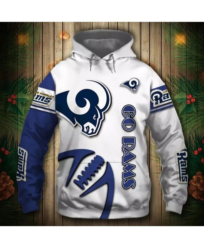 Los Angeles fashion cool Football 3d hoodies sportswear Blue white stitching steel rugby sheep print Rams sweatshirt