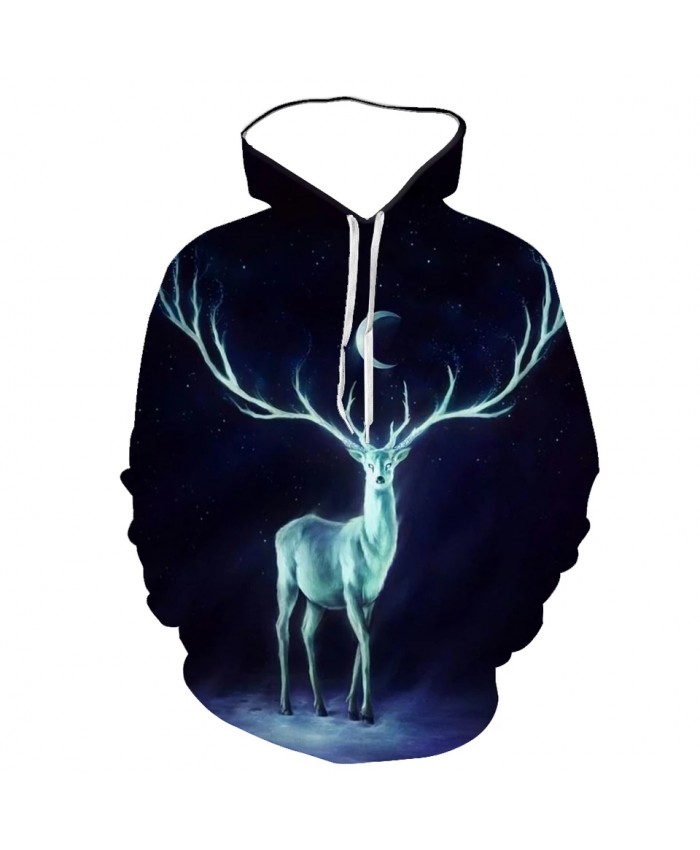 Autumn And Winter Men's And Women's Hoodies 3d Printing Animal Red Deer Pattern Pullover Fashion Casual Sweatshirt Top
