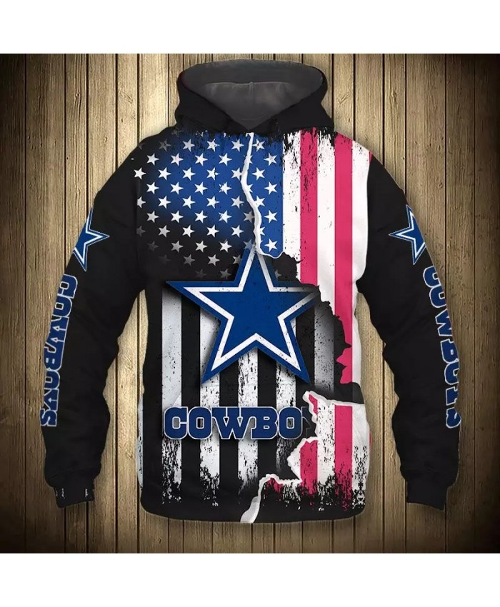 Dallas fashion cool Football 3d hoodies sportswear Black Stars and Stripes Pentagram Print Cowboys sweatshirt