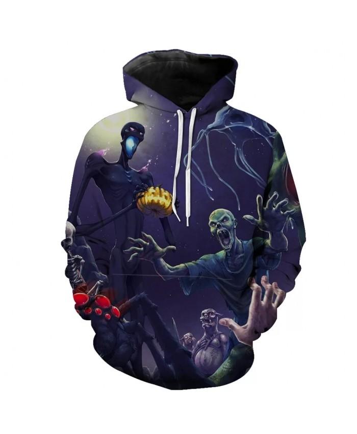 Purple Sky Crazy Zombie Print Fashion 3D Hoodie
