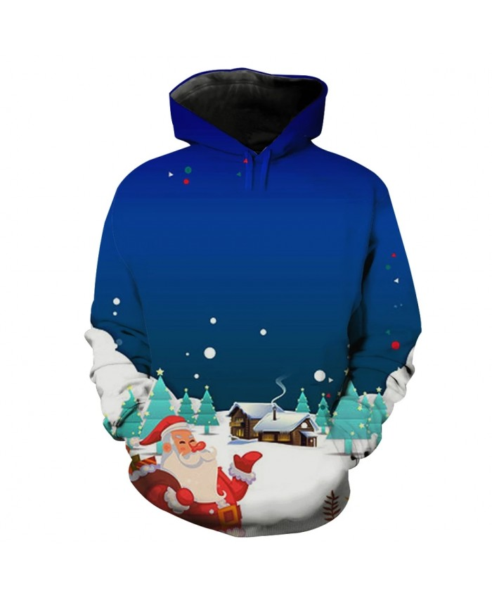 Snowy Night Busy Santa Claus Print Fun 3D Men's Hooded Sweatshirt
