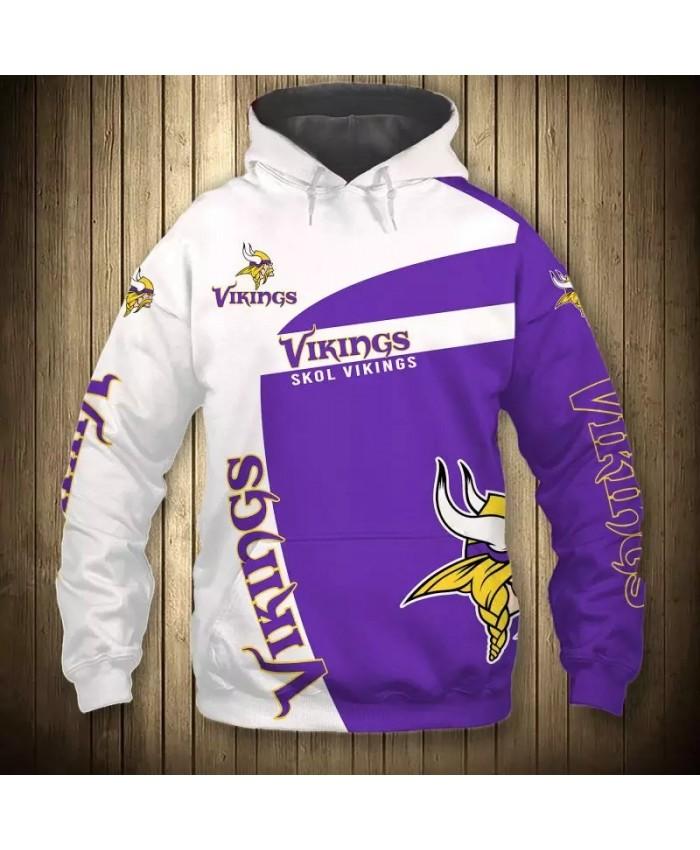 Minnesota fashion cool Football 3d hoodies sportswear White purple stitching geometric pattern warrior print Vikings sweatshirt