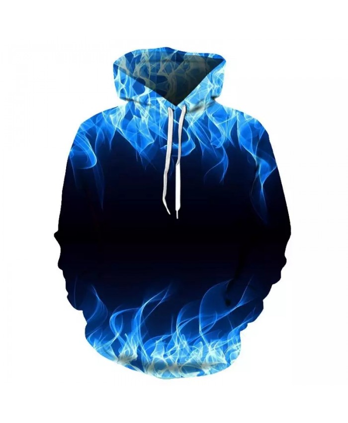Autumn And Winter New Red Blue Flame 3d Printing Hoodie Men's Sports Fashion Cool Hoodie 3d Pullover Sportswear Dropshipping