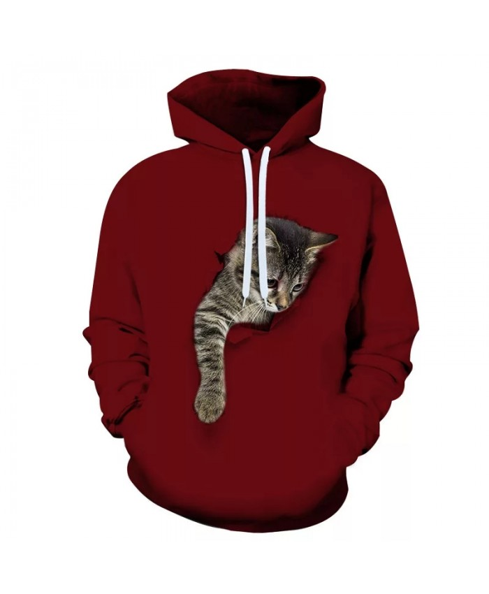 Women Animal Cat 3D Hoodies Sweatshirts Autumn Plus Size Long Sleeve Pocket Pullover Hoodie Female Casual Warm Hooded Sweatshirt