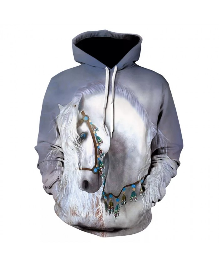 Spring fall fashion personality 3D animal print floral hoodie high quality casual long horse print street wear hooded sweatshirt
