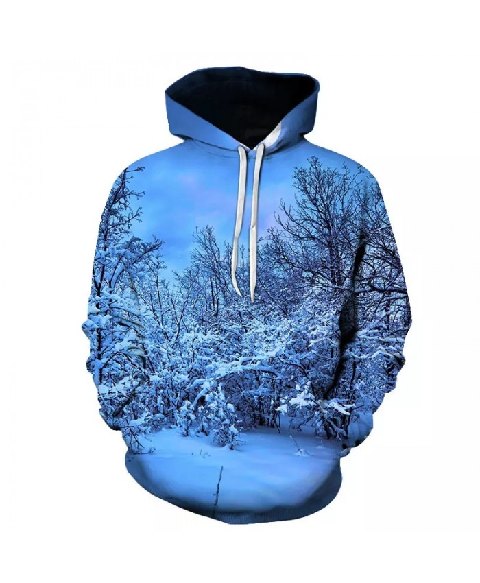 Personalized 3D printing landscape pattern men's casual sports small fresh hoodie