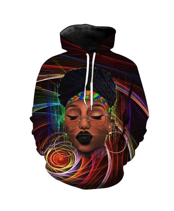 Men's Fashion 3D Hoodie Color Rotating Line Makeup Lady Print sweatshirts