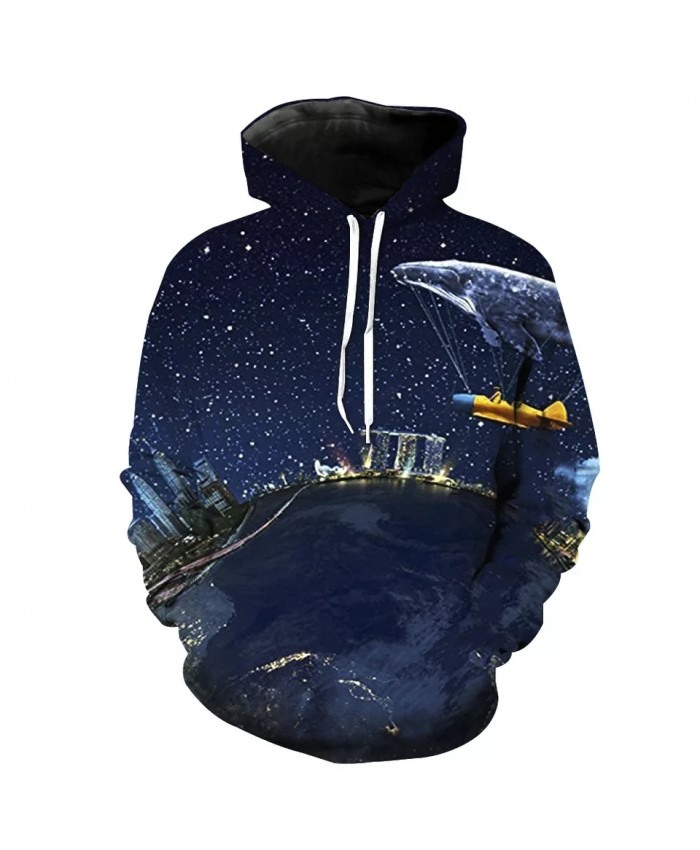 Blue starry sky flying whale print fun 3D hooded sweatshirt
