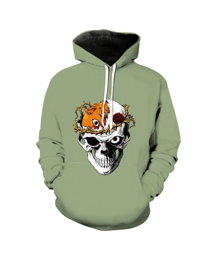 Men's Fashion 3D Hoodie Thorn flower broken skull print green sweatshirt
