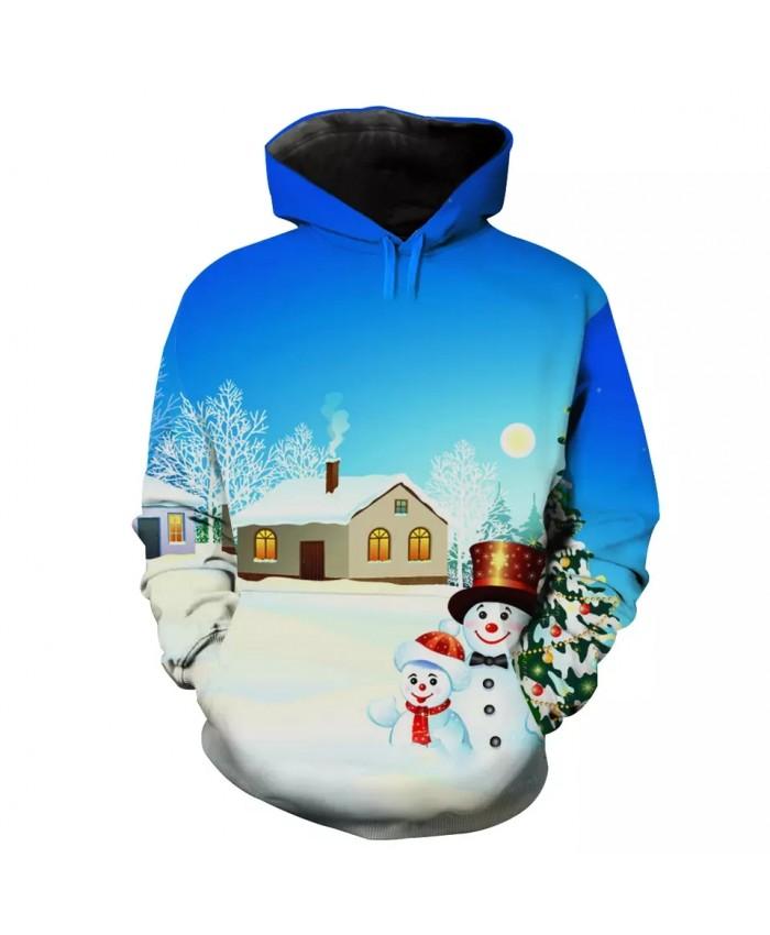 Winter Village Green Christmas Tree Cute Snowman Print Men's Fashion 3D Hooded Sweatshirt