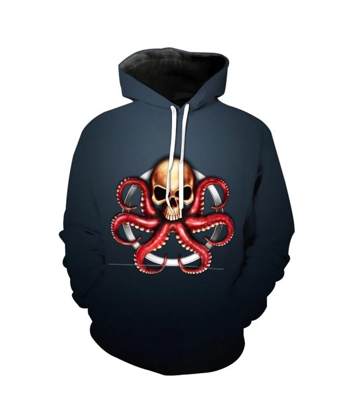 Men's Fashion 3D Hoodie Hoop octopus skull print sweatshirt