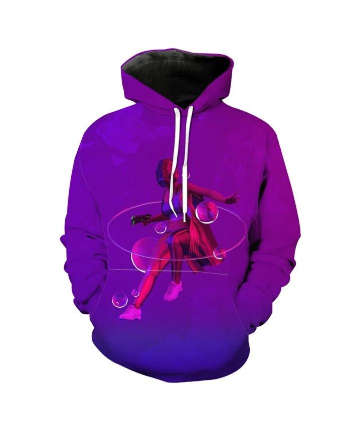Fashion 3D Hooded Sweatshirt Purple Casual Streetwear