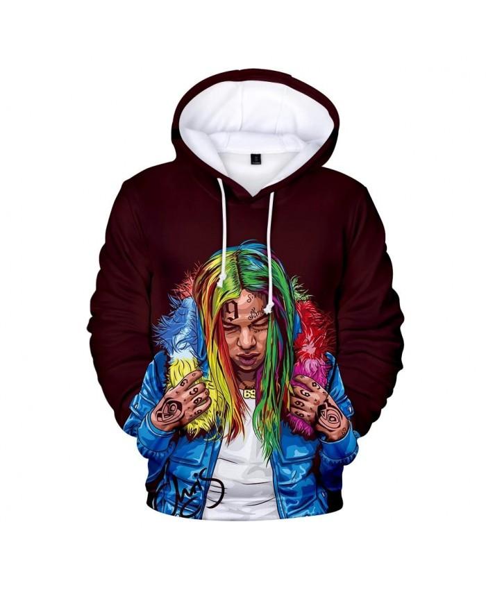 Fashion boys girls 3D Hoodies Men 6IX9INE Sweatshirts Men Women Autumne Kids Hooded Hot 6IX9INE 3D Hoodie casual dark redTops