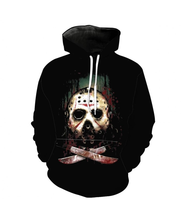 Men's Fashion 3D Hoodie Metal mask knife printing sweatshirt