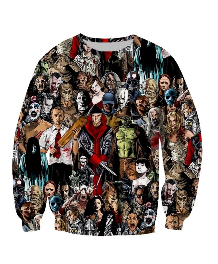 Murderers Horror Movies Fashion Long Sleeves 3D Print Hoodies Sweatshirts Jacket Men women tops