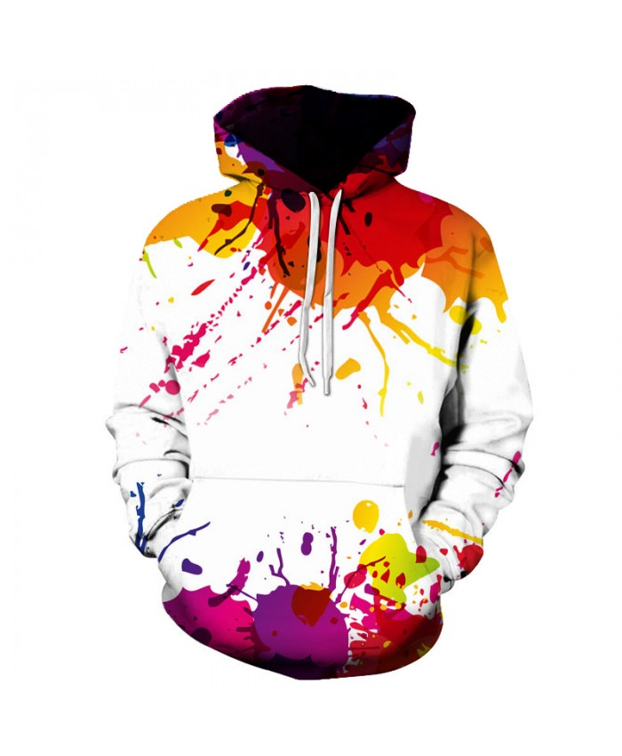 2018 Autumn Winter Cap Hoodies Men/women Hip Pop Pullovers Print Paint Color Blocks Hoody 3d Graffiti Sweatshirts Sportwear