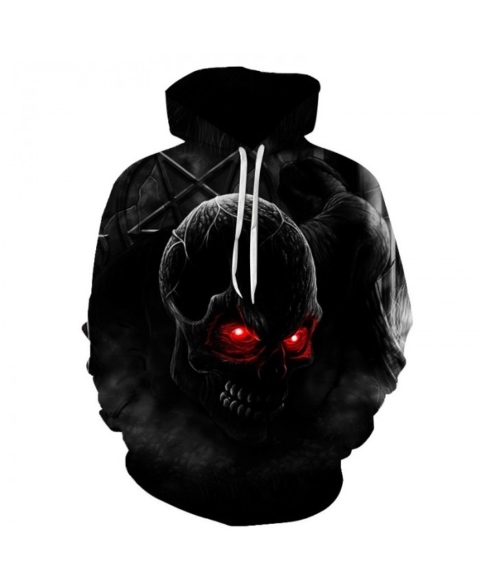 2019 Autumn Winter Fashion Men/women Hoodies Red eyes Skull head Hooded Hoody Sweatshirt 3D lovely Tracksuits