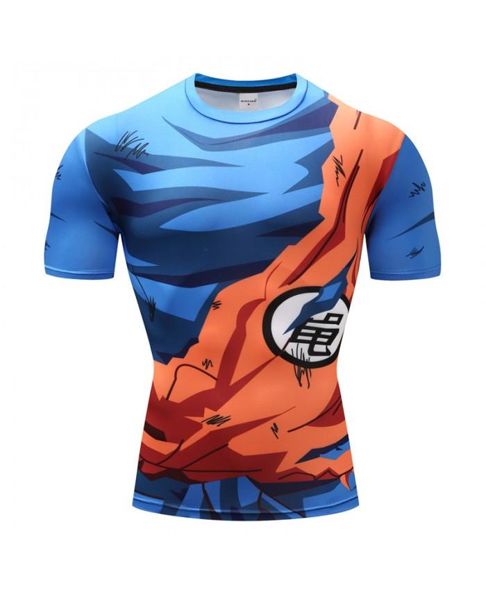 2018 Dragon Ball Z T shirts Men Compression Shirts Anime Short Sleeve T-shirt Fitness Tops Vegeta Goku Cool Funny Fitness Tshirts B
