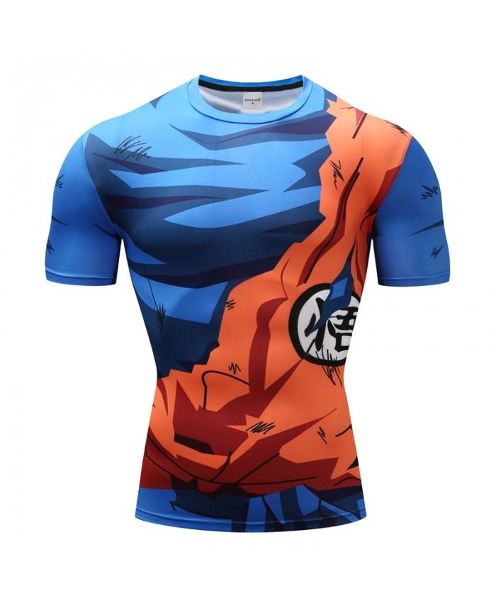 2018 Dragon Ball Z T shirts Men Compression Shirts Anime Short Sleeve T-shirt Fitness Tops Vegeta Goku Cool Funny Fitness Tshirts C