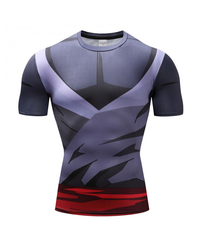2021 Dragon Ball Z T shirts Men Compression Shirts Anime Short Sleeve T-shirt Fitness Tops Vegeta Goku Cool Funny Fitness Tshirts E