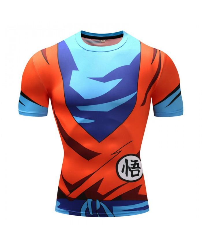 2018 Dragon Ball Z T shirts Men Compression Shirts Anime Short Sleeve T-shirt Fitness Tops Vegeta Goku Cool Funny Fitness Tshirts I
