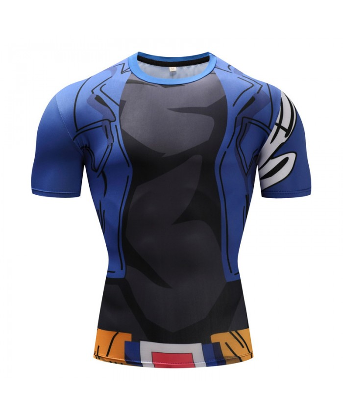 2018 Dragon Ball Z T shirts Men Compression Shirts Anime Short Sleeve T-shirt Fitness Tops Vegeta Goku Cool Funny Fitness Tshirts J