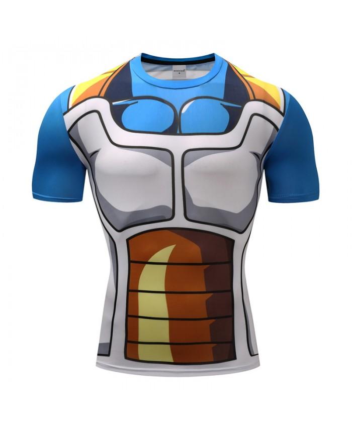 2018 Dragon Ball Z T shirts Men Compression Shirts Anime Short Sleeve T-shirt Fitness Tops Vegeta Goku Cool Funny Fitness Tshirts K
