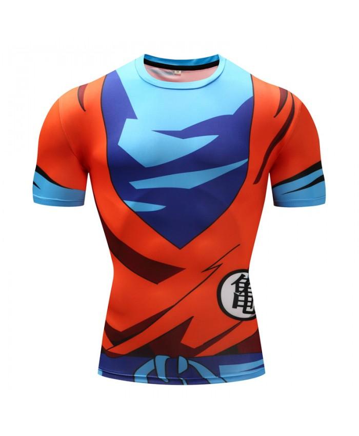 2018 Dragon Ball Z T shirts Men Compression Shirts Anime Short Sleeve T-shirt Fitness Tops Vegeta Goku Cool Funny Fitness Tshirts L