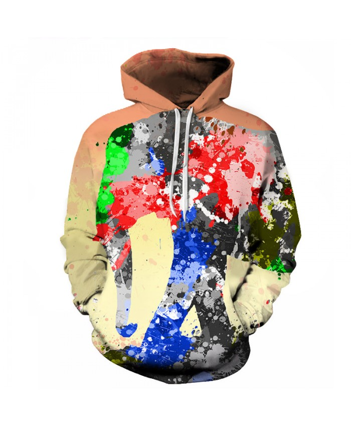 2018 Fashion Colorful Paint Elephant Digital Print Men/Women Hooded Hoodies Cap Windbreaker Jacket 3D Sweatshirts Autumn Winter