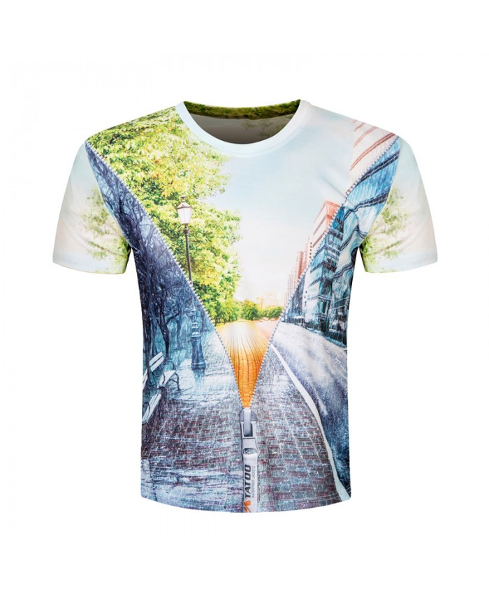 2018 Men 3D Printed Scenery T shirt Casual Short Sleeve Summer Funny T-shirt Fashion Harajuku Luxury Brand Clothing