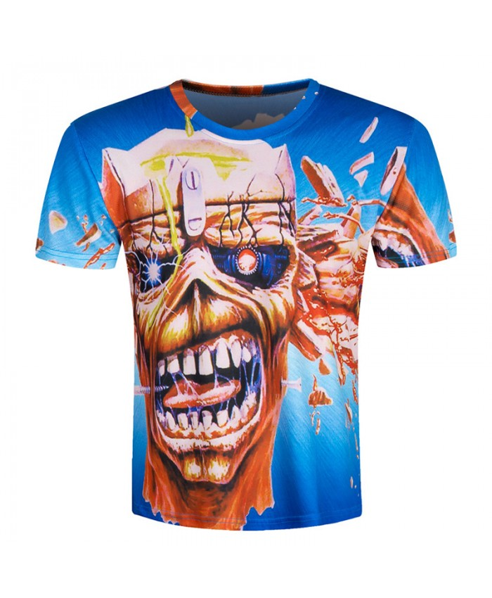 2021 Men Hip Hop Tshirt Men Camisa 3D T Shirt Skull Printed Extend Skate Short Sleeve Rock Male Tops Brand Clothing