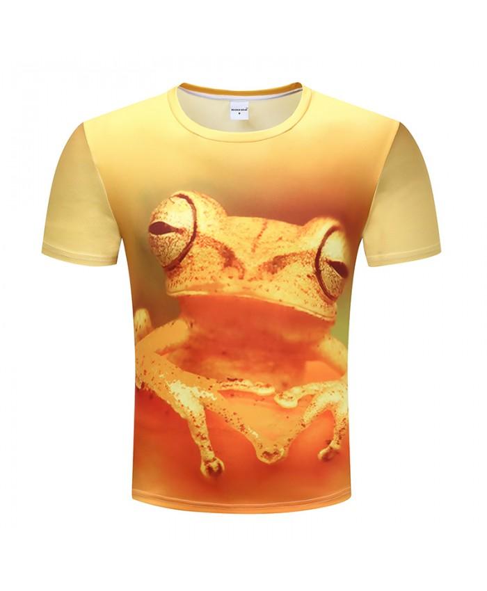 2019 Mens 3D Printed O Neck Short Sleeve T Shirts Summer Thin Cool Yellow Frog Fashion Casual Brand Clothing Tops