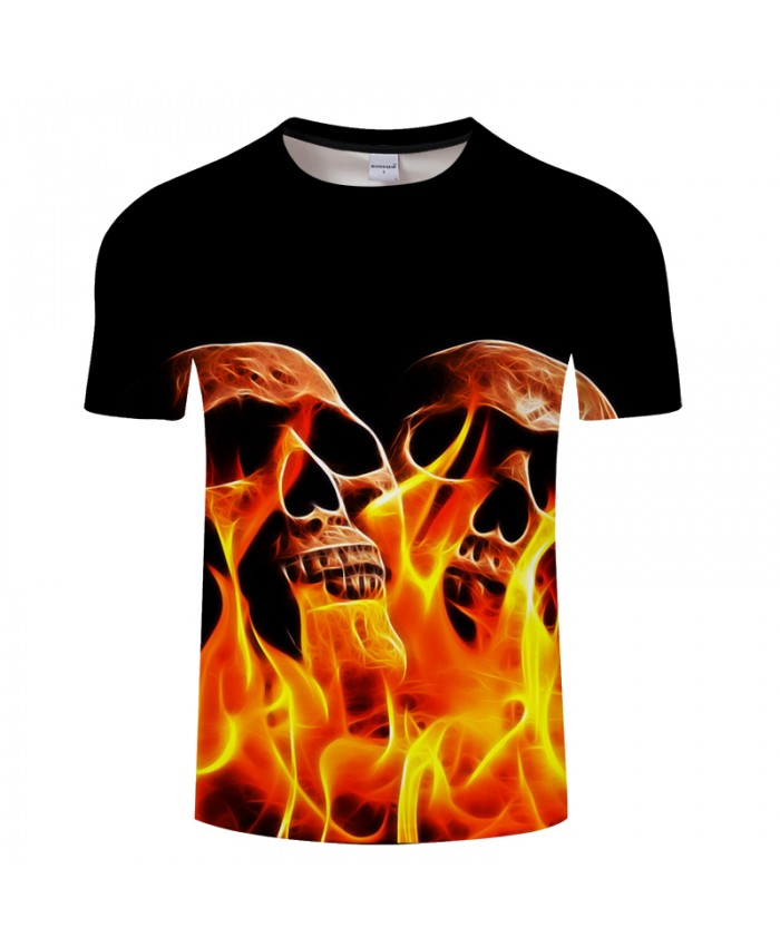 2021 New Fire&Skull 3D Print t shirt Men Women tshirts Summer Casual Short Sleeve Boy Tops&Tees Streatwear Drop Ship