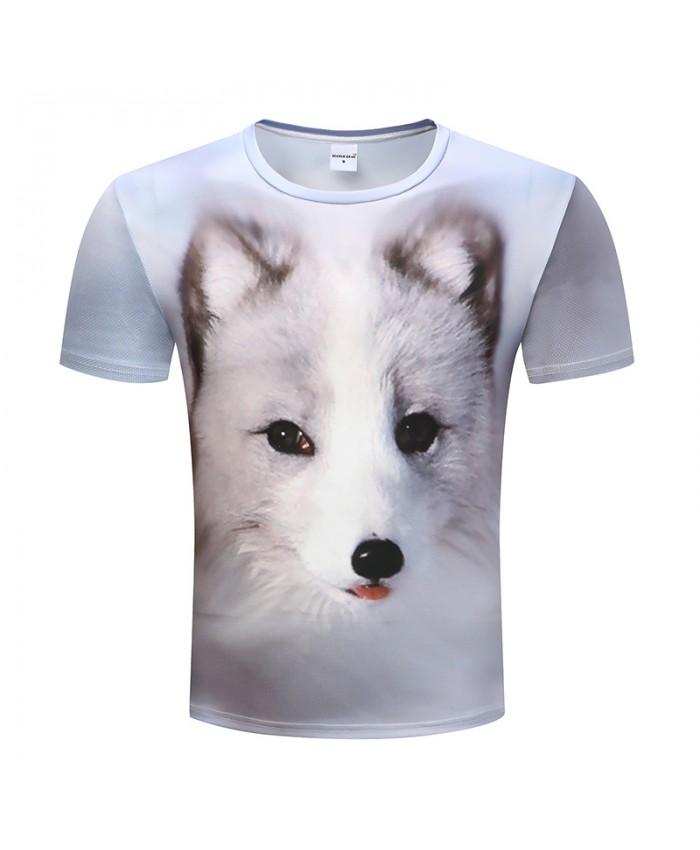2019 New Print T-shirt Mens Short Sleeve 3D Print White Fox Animal Style Summer Fashion Lovely Funny T Shirt Men 3D