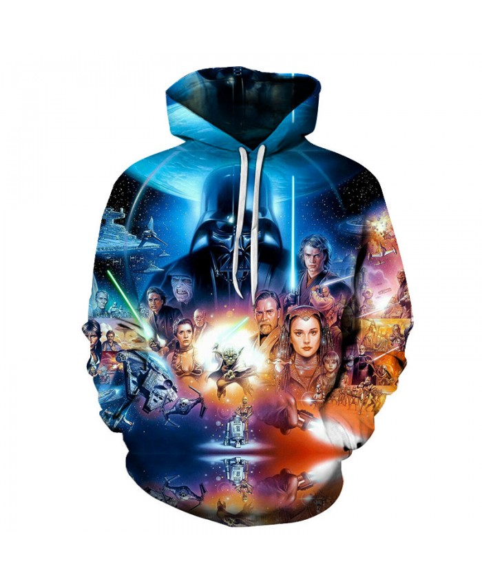 2018 STAR WARS Colorful Print Hoodies Men Anime Hoodies Sweatshirts Pullover Fashion Tracksuits Brand Drop Ship