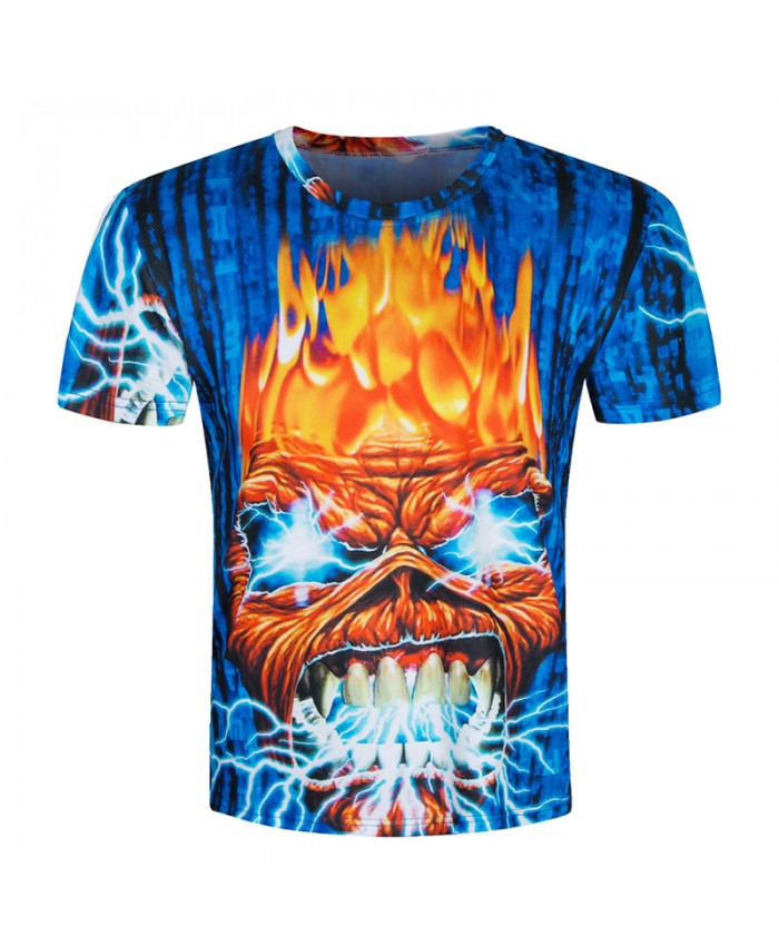 2019 Skull T shirts Men 3D Shirt Funny Top Hip Hop Brand Clothing Rock Fire Metal Short Sleeve New 3d Camiseta 3D