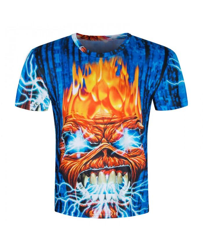 2018 Skull T shirts Men 3D Shirt Funny Top Hip Hop Brand Clothing Rock Fire Metal Short Sleeve New 3d Camiseta 3D
